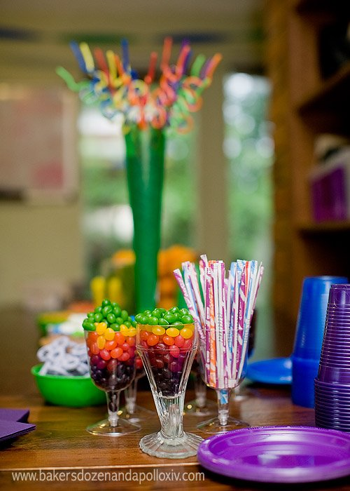 Colorful candy is an easy way to decorate for a rainbow partty.