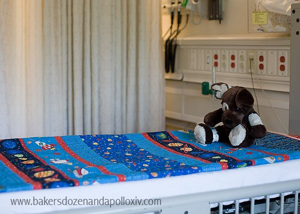 Apollo's hospital bed at Seattle Children's Hospital