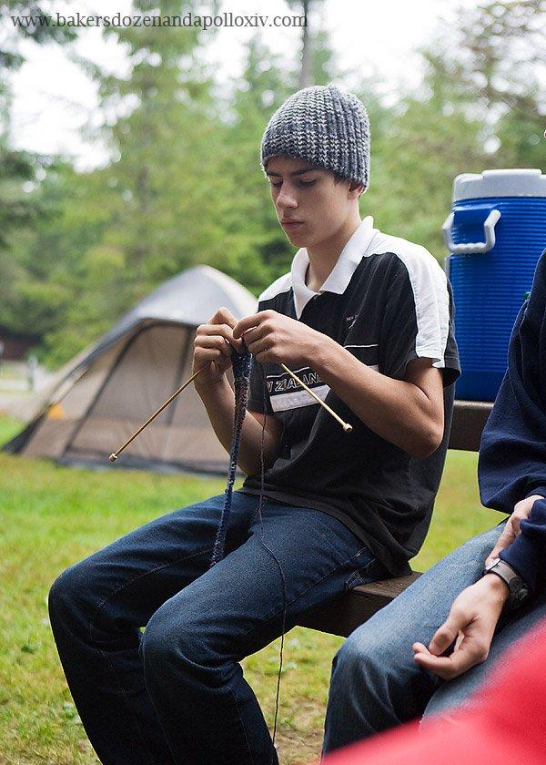 knitting, teen boy knitting, large family, large family blog, camping large family, camping pacific northwest