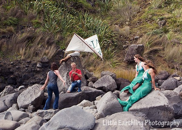 Outrageous proposal on the beach with mermaids in New Zealand.