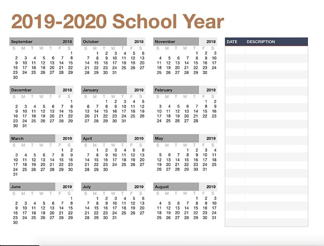 Print off an academic calendar for the year.
