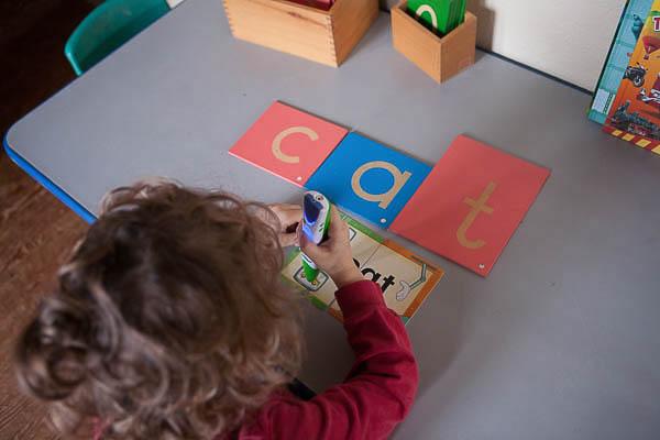 Montessori Moveable alphabet and LeapFrog.