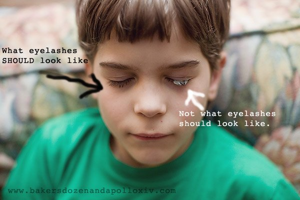 boy with thinking putty in his eyelashes