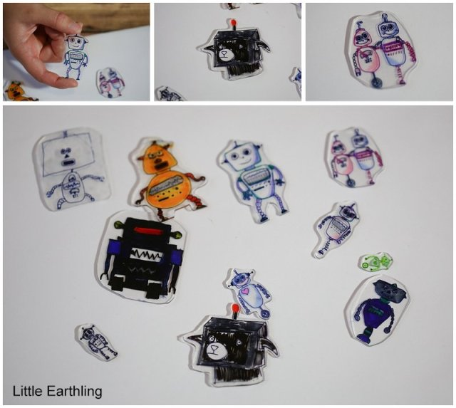 Robot Activities you kids will love. Make detailed tiny robots with shrinky dinks!