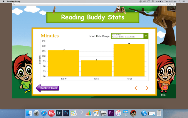 Reading Buddy will track your child's reading progress.