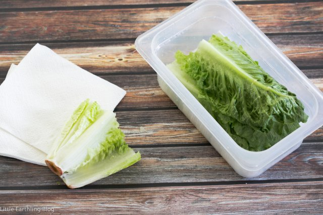 To wash and prep your lettuce, stick a paper towel at the bottom of the container to absorb the extra water. Large Family kitchen hacks.