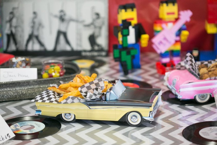 Fifties diner themed food is perfect for your Elvis party.