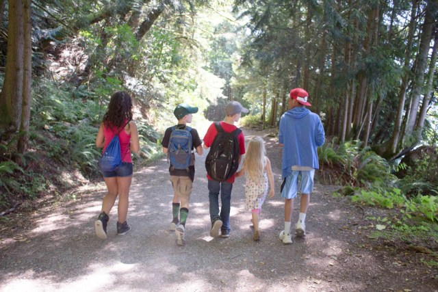 Taking a fun family hike in Bellingham.