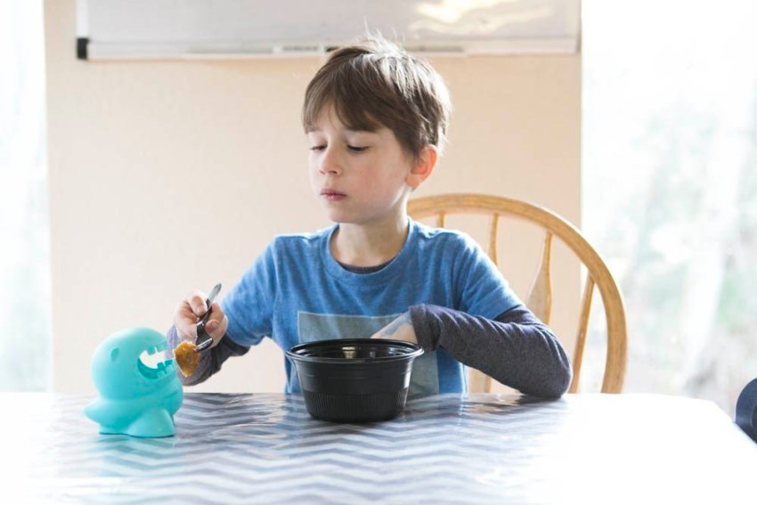 Milton the Mealtime Companion Review. This great for picky eaters.