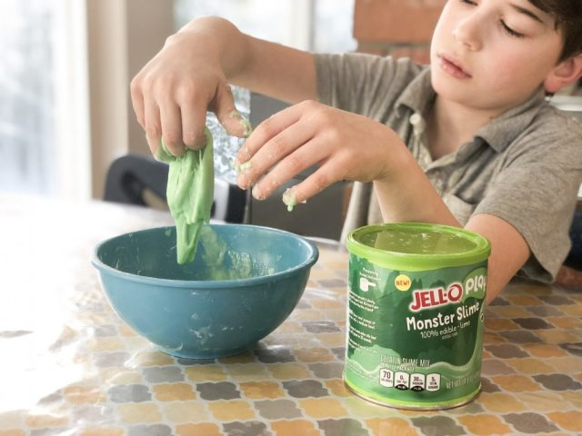 Edible Jello Slime makes a great snow day activity.