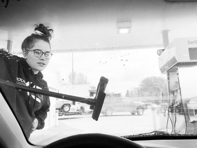 Teaching teens how to adult. If you can drive, you can pump gas.