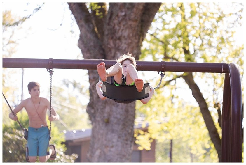 Apollo swinging. Learning without school can happen anytime, anywhere.