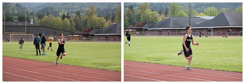 Tucker running at track meet.