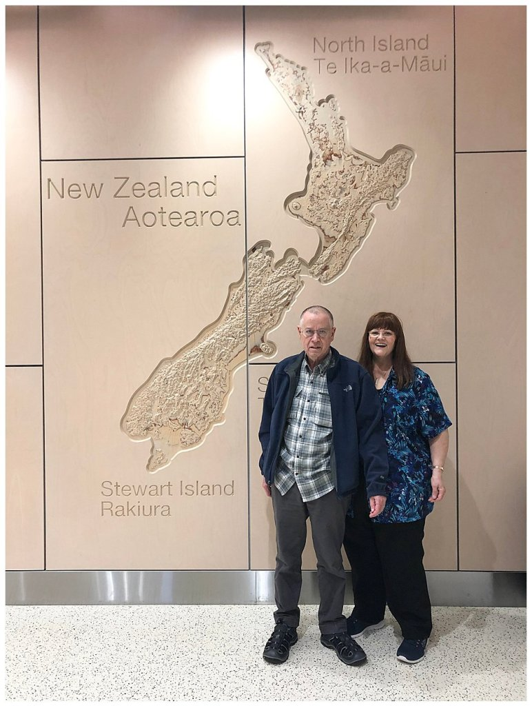 Arriving safely in Auckland with my parents.