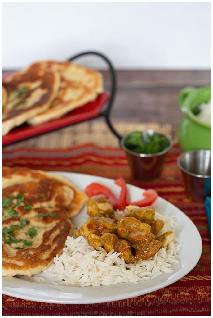 Tikka masala and garlic naan bread.