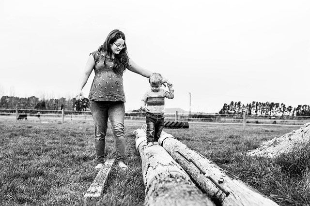 Adalia, 40 weeks pregnant, with Percy in New Zealand.