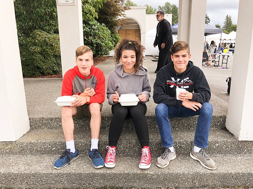 Hezekiah, Avi, and Tucker at Greek Festival.