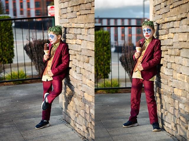 Boy dressed as joker eating ice cream. Easy joker-inspired diy costume.