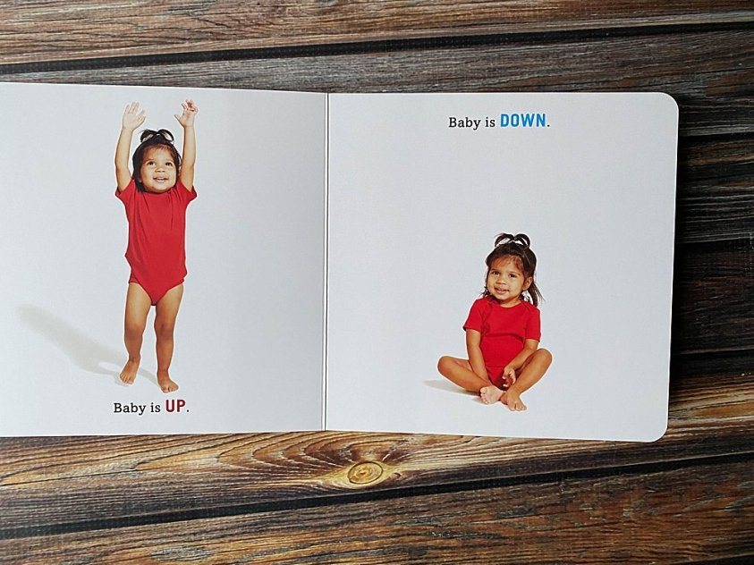 Baby Up Baby Down first book of opposites.