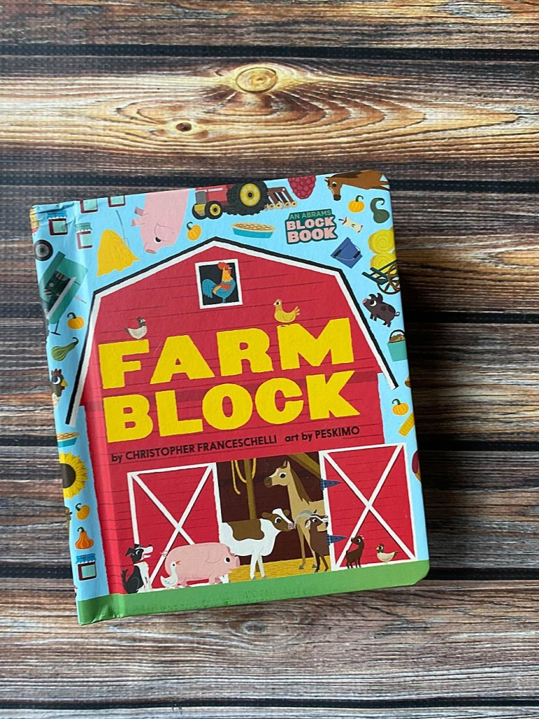Farm Block is a board book with pages that expand and flaps to lift.