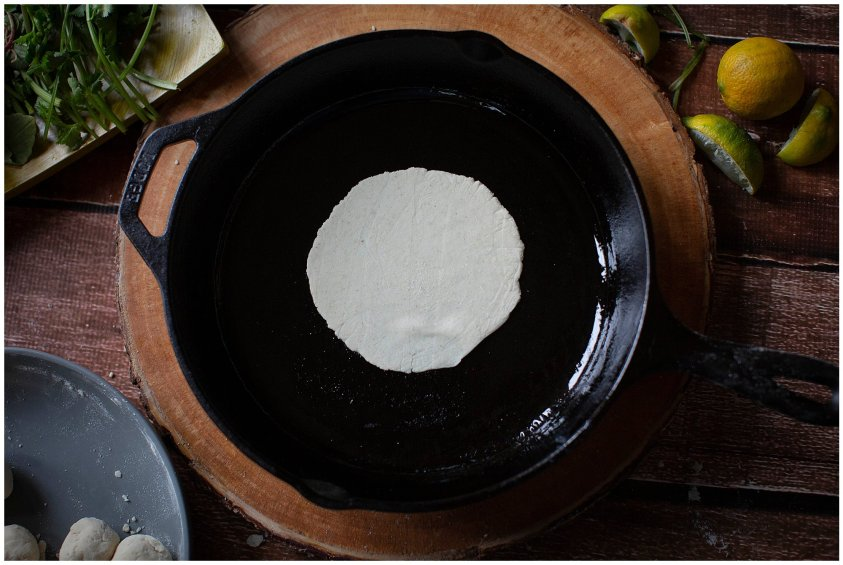 Cook your corn tortilla in an oiled pan.
