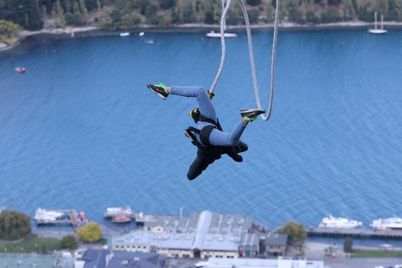 Kalina bungee jumping in New Zealand.