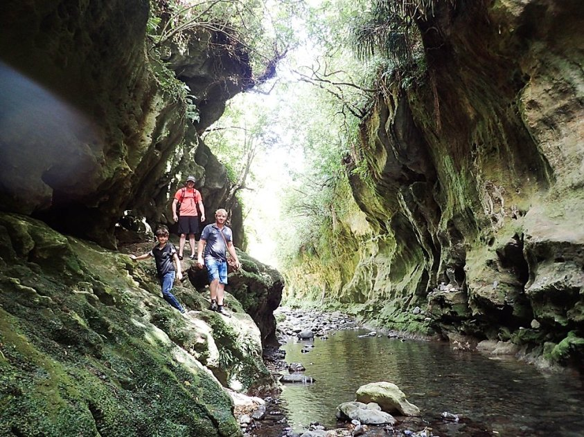 Traveling through the chasms in New Zealand.