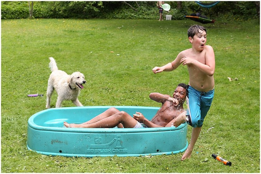 Apollo runs away from Mordecai during water fight.