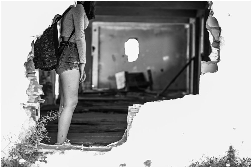 Girl in the hole in the wall. Northern State Hospital.