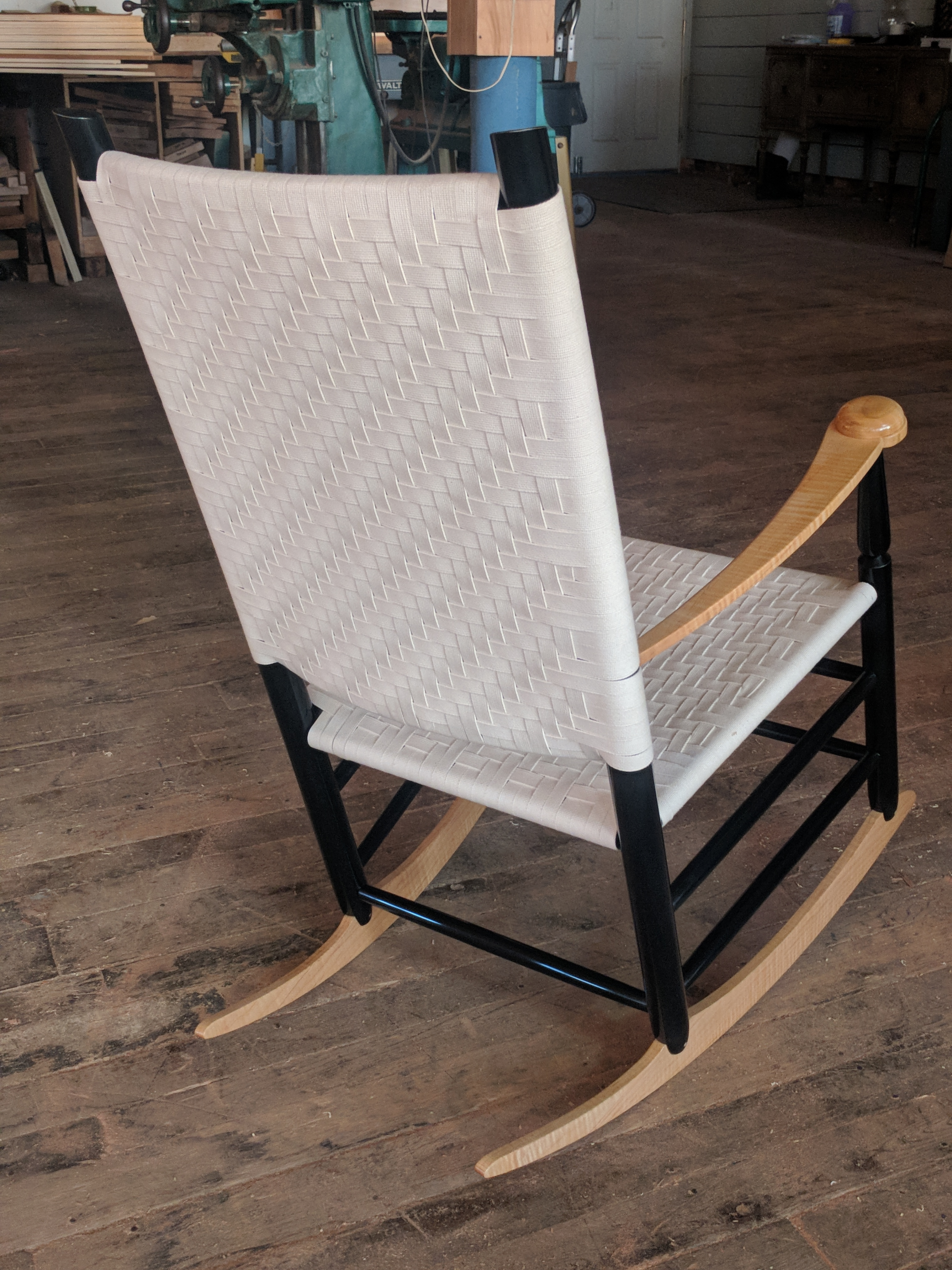 rocking chair fine woodworking bucket seat littlefield shaker tape rocker chairs