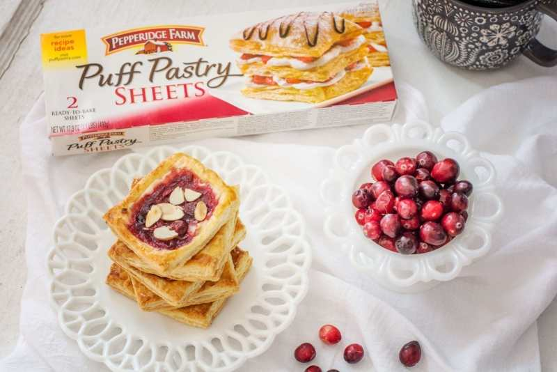 So easy to make and made with @PepperidgeFarm Puff Pastry Sheets, Cranberry Cream Cheese Pastries are the answer to your leftover Cranberry Sauce this Holiday Season! Get the recipe at Little Figgy Food! #InspiredbyPuff #ad