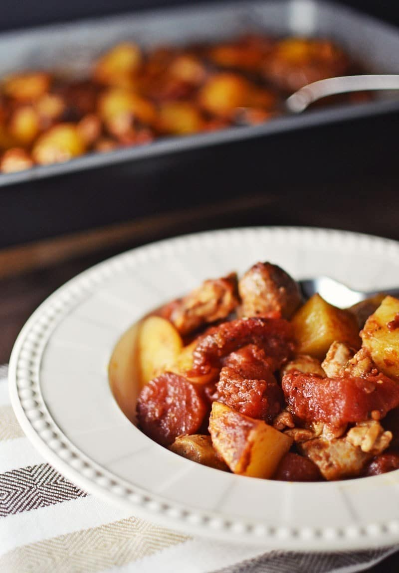 Balsamic Chicken and Sausage Bake - #LittleFiggyFood - #BalsamicLove