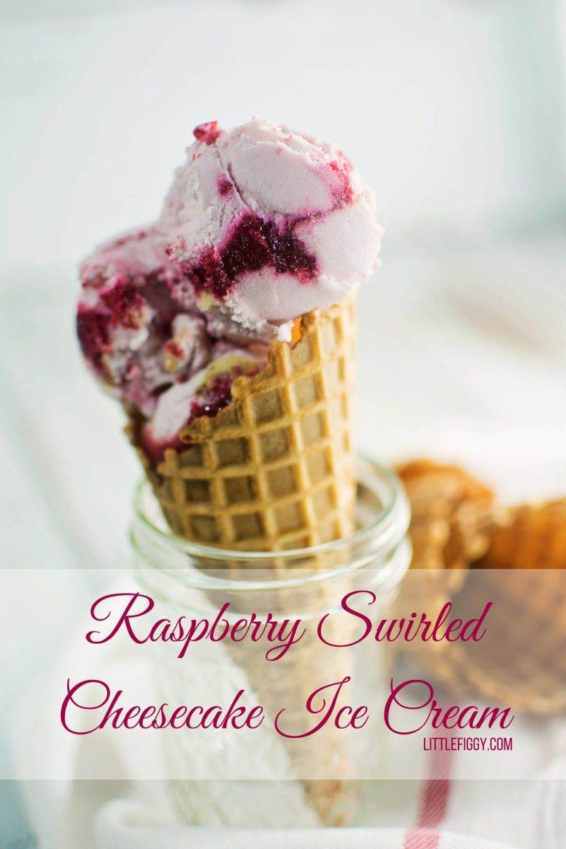 Homemade raspberry ripple cheesecake ice cream in a waffle cone