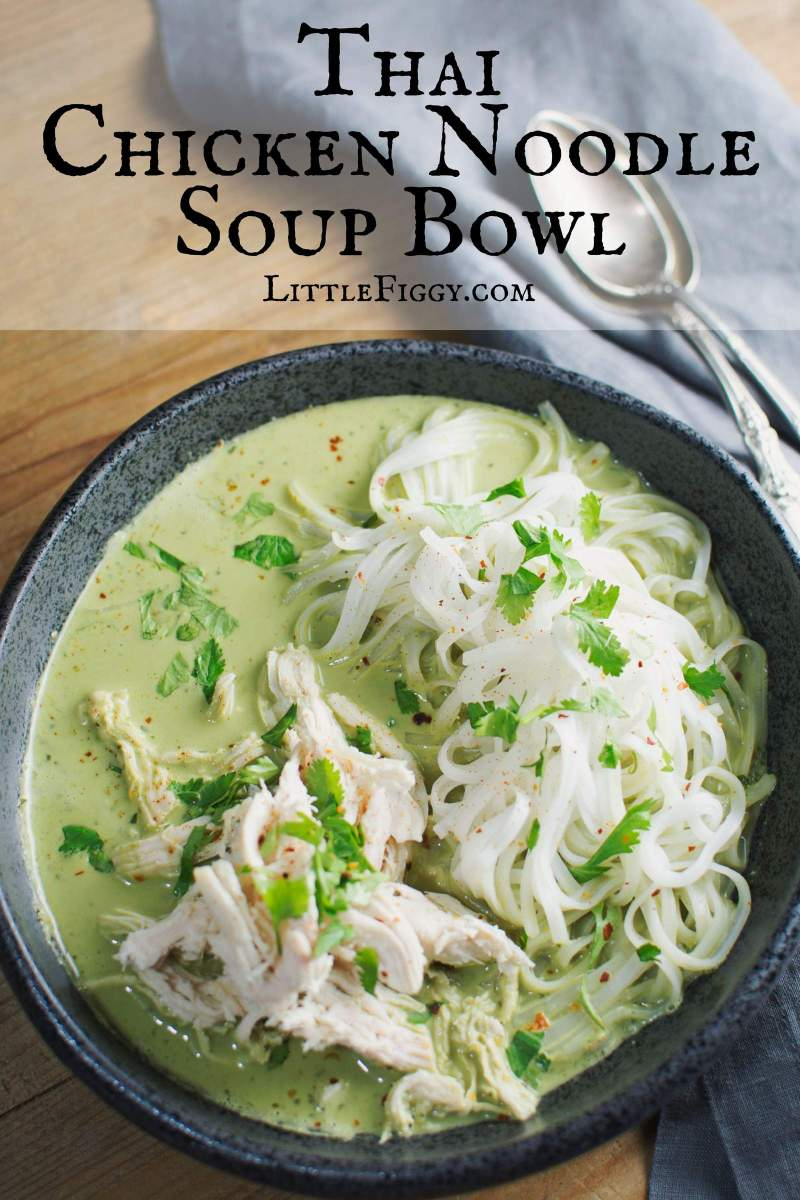 Try this tasty, quick and easy Thai Chicken Noodle Bowl! Full of amazing flavor and perfect as a starter or main meal. Recipe @LittleFiggyFood