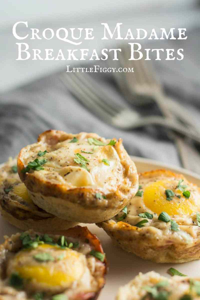 Enjoy these Croque Madame inspired Breakfast Bites for breakfast, lunch or dinner! Recipe @LittleFiggyFood