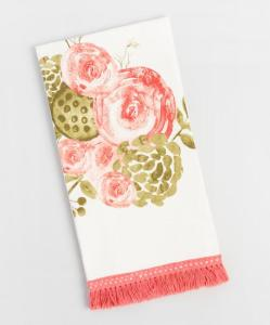 Pink Bouquet Fringed Kitchen Towel