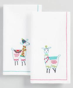 Embroidered Llama Napkins Set