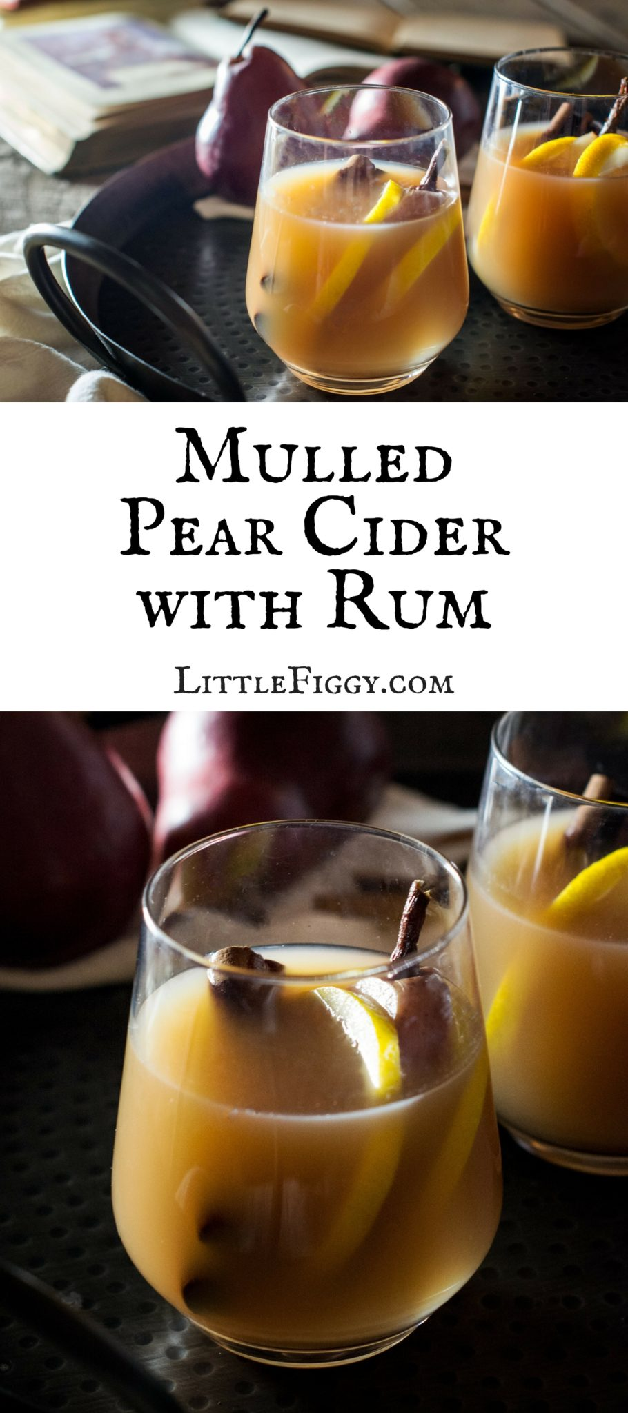 Mulled Pear Hard Cider Cocktail Recipe! A great warm drink to stay warm during those chilly nights! Perfect for your next get together or just because. Get the recipe at Little Figgy Food.