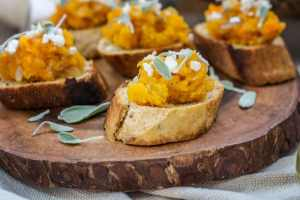 Butternut Squash and Sage Bruschetta appetizer recipe. Get the recipe at Little Figgy Food!