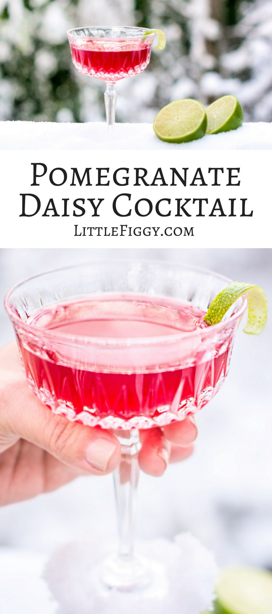 A gorgeous drink that's perfect for celebrating the holidays, the Pomegranate Daisy Cocktail! Get the recipe at Little Figgy Food!