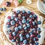 Chocolate Pavlova with Cherry Compote