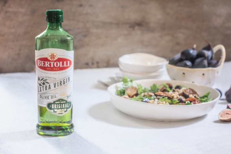 Bertolli Extra Virgin Olive Oil used in an easy to make grilled fig salad