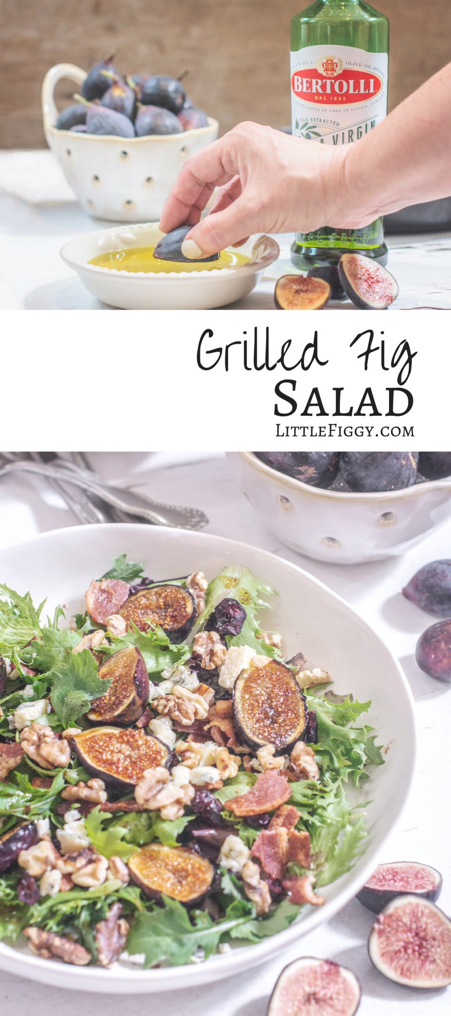 #Sponsored ~ A simple, yet elegant salad made with fresh figs - Grilled Fig Salad with blue cheese, walnuts, and Bertolli Extra Virgin Olive Oil! Get the recipe at Little Figgy Food. #TheRecipeIsSimple @Bertolli #figs #salad #recipeoftheday