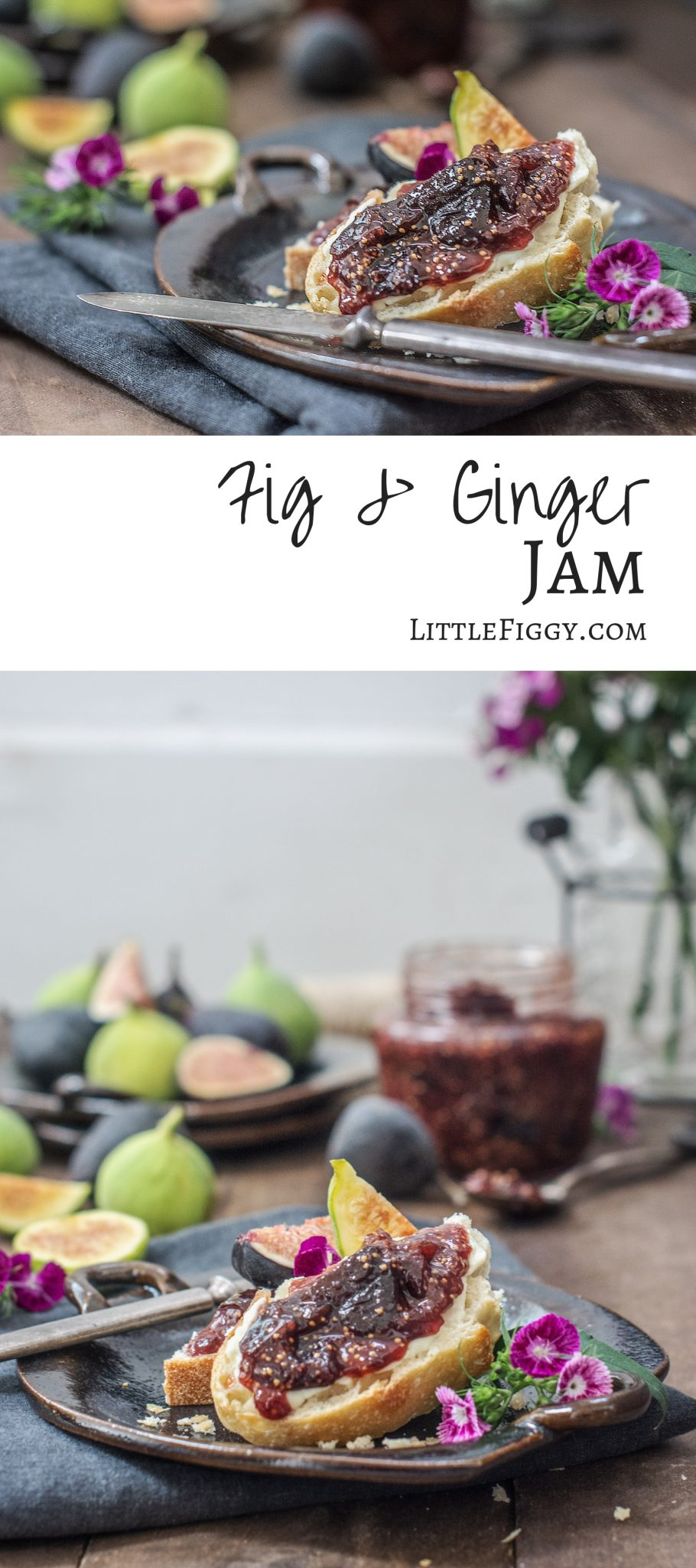Enjoy making your own homemade Fig Jam recipe with a hint of ginger and cinnamon. Amazing on toast, stirred into yogurt, and so much more. Get the recipe at Little Figgy Food #figs #recipeoftheday #jams #preserves #howtomake #freshfigs