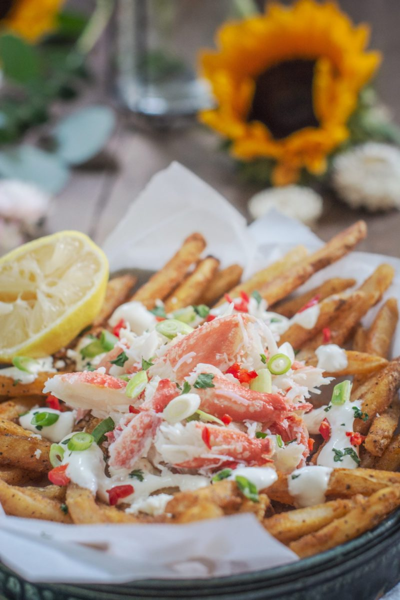 Crab Fries with garlic aioli
