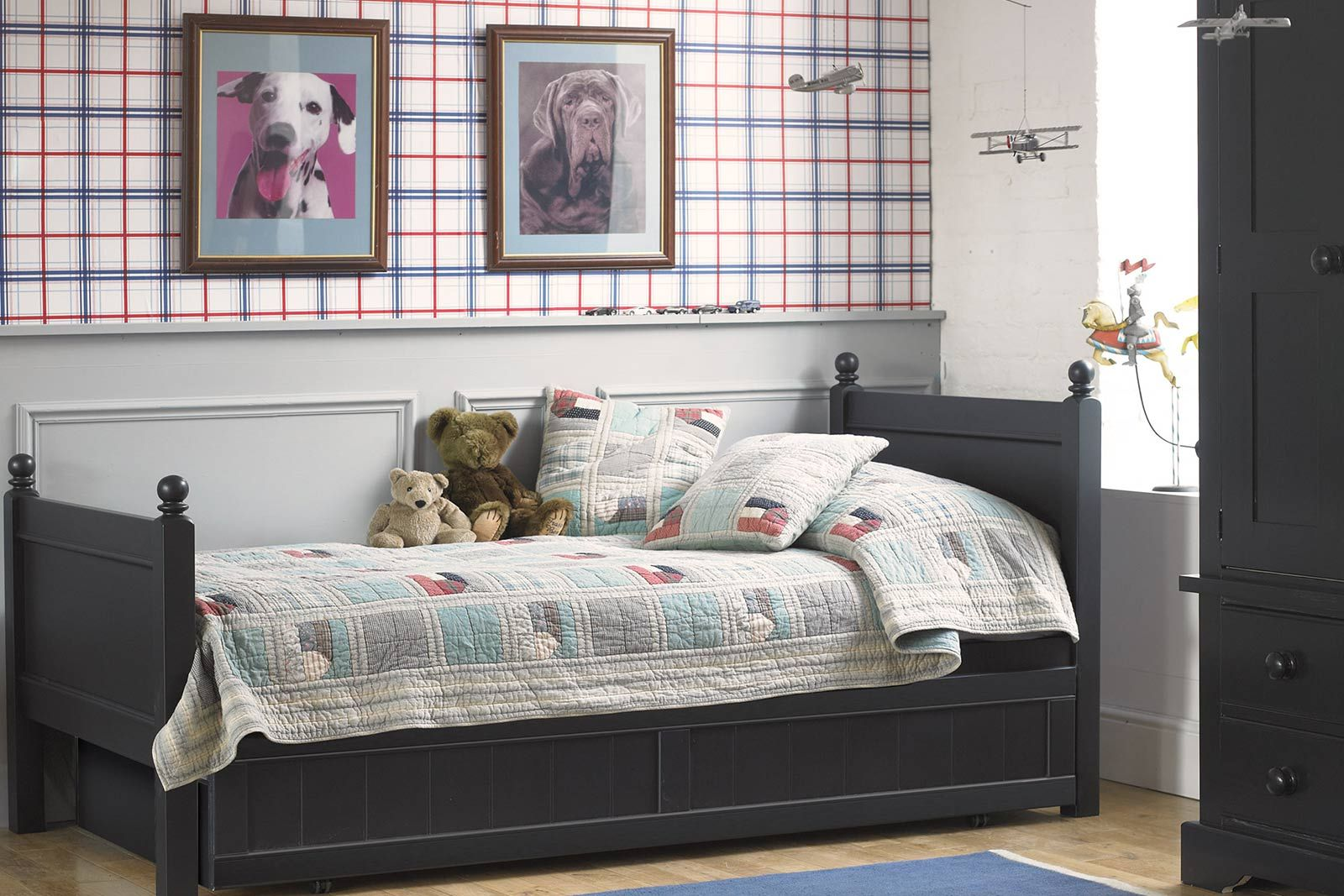 Fargo Single Bed With Storage And Sleepover Trundle Bed Painswick Blue Classic Kids Storage Beds Little Folks Furniture