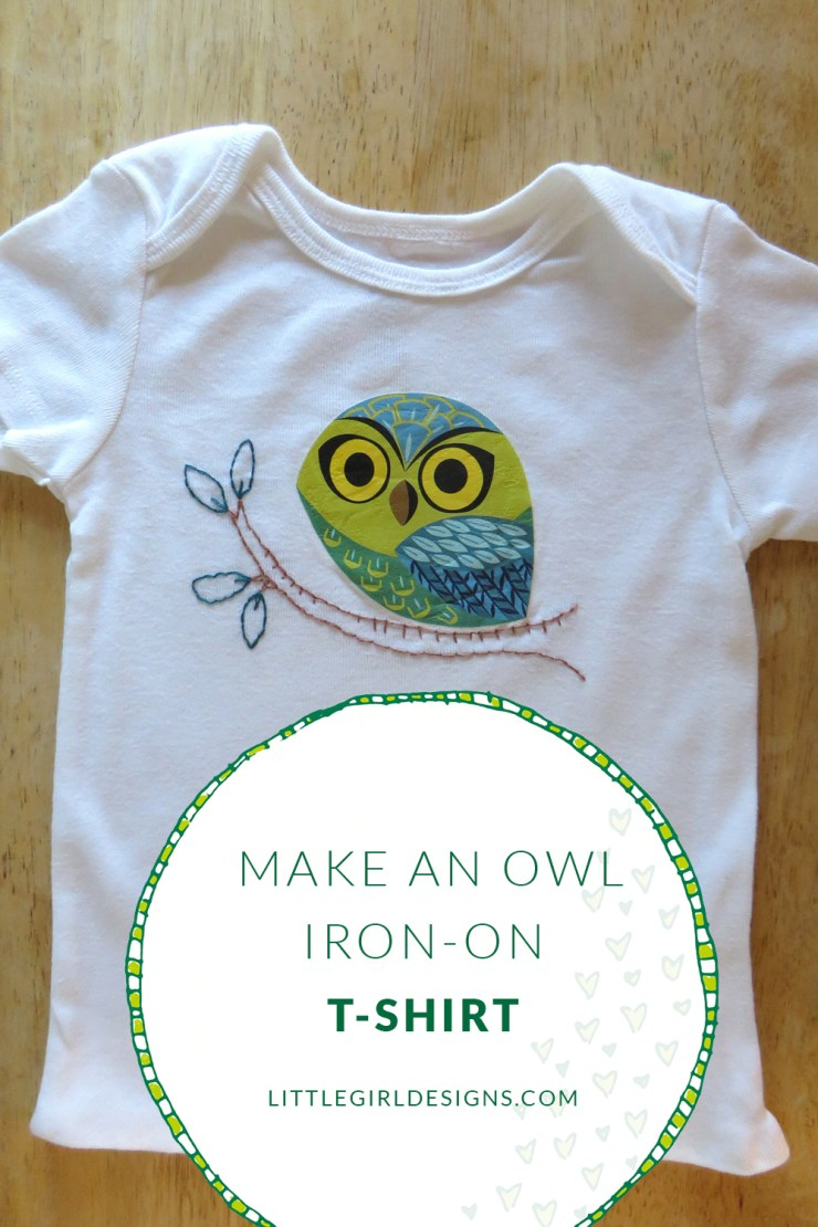 Make your own owl iron-on tshirt with this adorable pattern! @littlegirldesigns.com #owl #babyclothes
