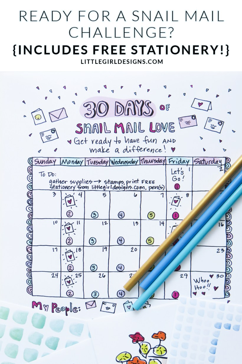 Join the #30daymailboxlove challenge and be prepared to have FUN! You'll receive a cute illustrated calender, free printable stationery, and card tutorials and encouragement on my blog and Instagram for the ENTIRE month. Let's do this! :)