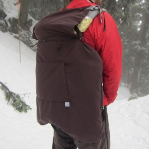 3-season baby carrier cover in back carry position using hood