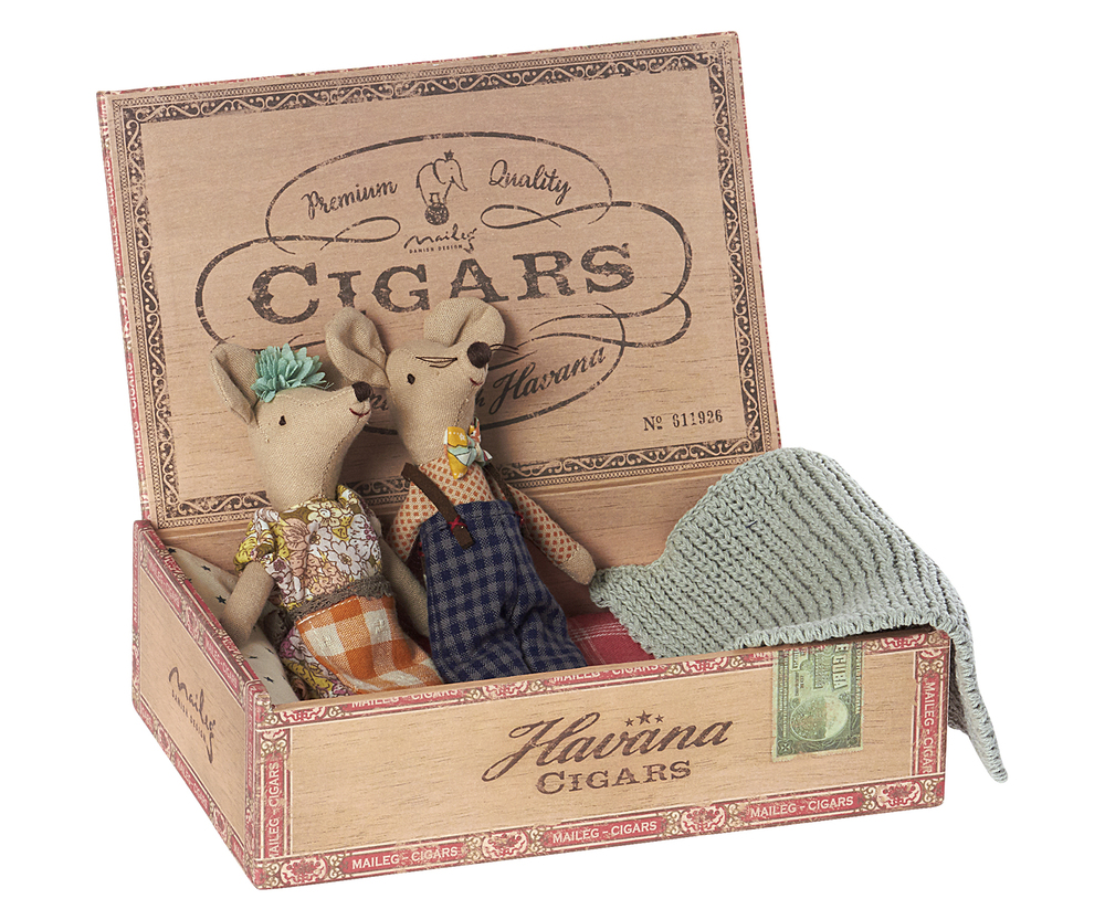 Maileg Mom and Dad Mice in a Cigar Box  Little Goose Toys
